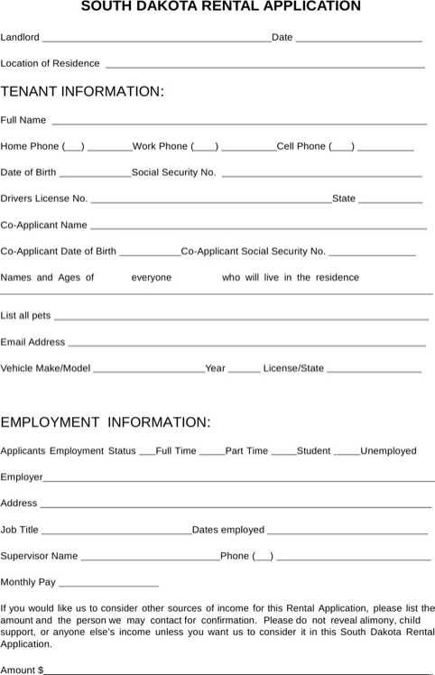 South Dakota Rental Application Form