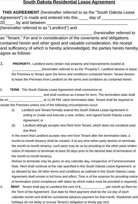 South Dakota Residential Lease Agreement Form