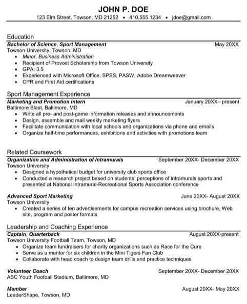 Sport Management Sample Resume