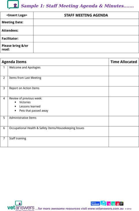 Staff Meeting Agenda & Minutes Template