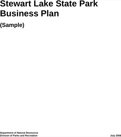 Stewart Lake State Park Business Plan (Sample)