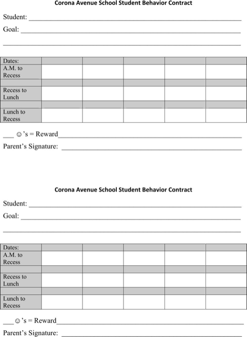 Student Behavior Contracts