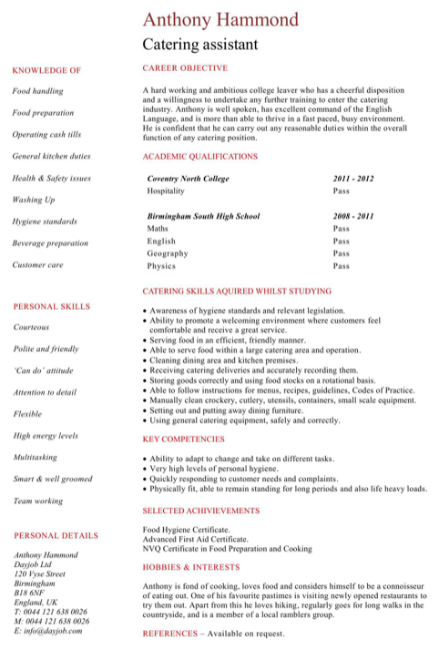 Student Catering Assistant Resume Template