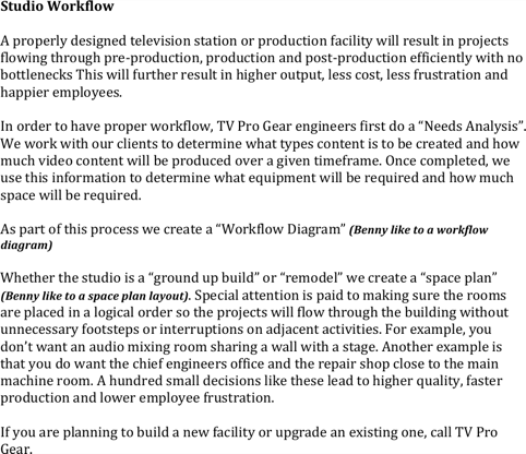 Studio Workflow Template Word