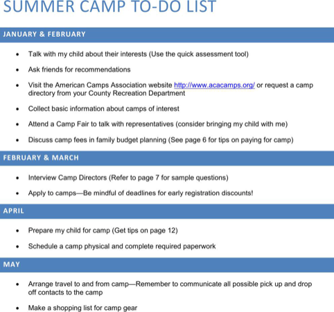 Summer Camp To Do List