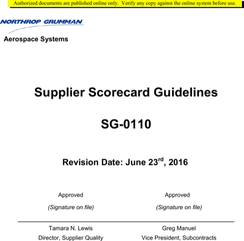 Supplier Scorecard Guidelines Sample