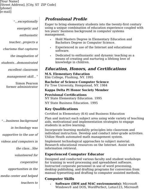 Teacher Resume CV