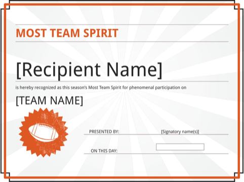 Team Spirit Certificate