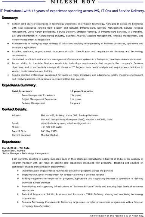 Technical Manager Resume