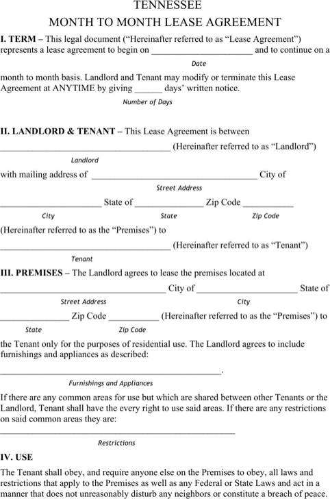 Download Tennessee Rental Agreement For Free Formtemplate