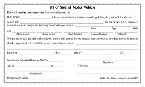 Tennessee Motor Vehicle Bill of Sale Form