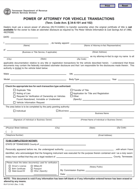 Tennessee Motor Vehicle Power of Attorney Form