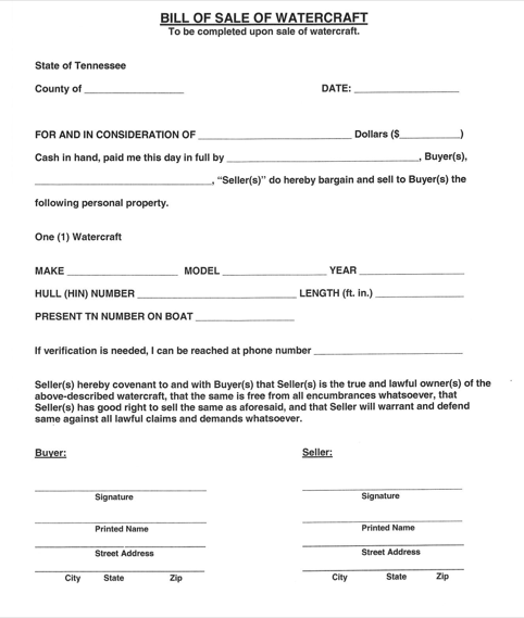 Tennessee Watercraft Bill of Sale Form