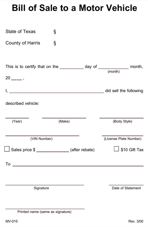 Texas Harris County Vehicle Bill of Sale