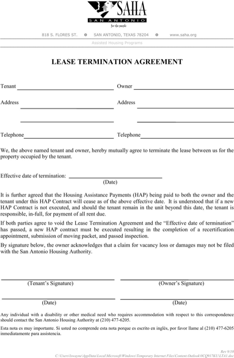Texas Lease Termination Agreement