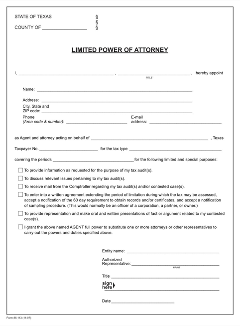 Texas Limited Power of Attorney (for Audits) Form
