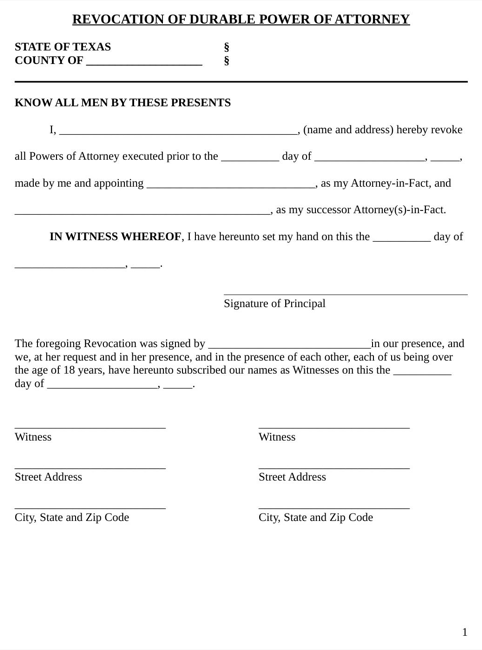 Texas Power of Attorney Revocation Form