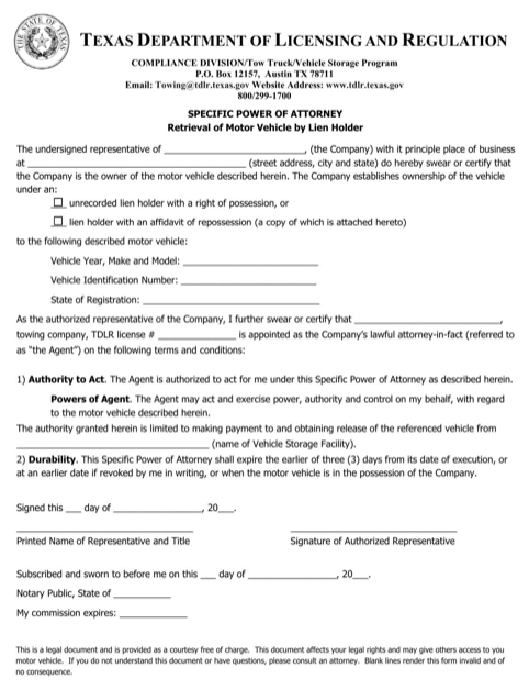 Texas Specific Power of Attorney (Retrieval of Motor Vehicle by Lien Holder) Form