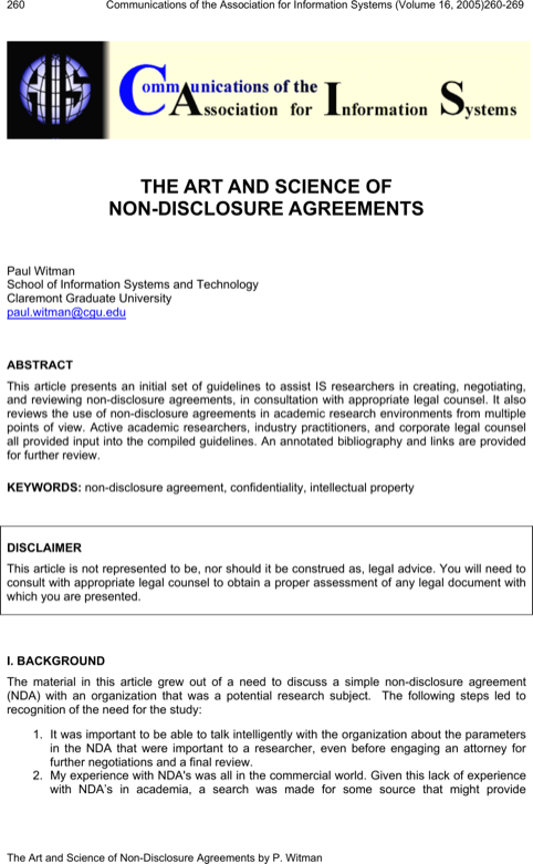 The Art And Science Of Non Disclosure Agreements