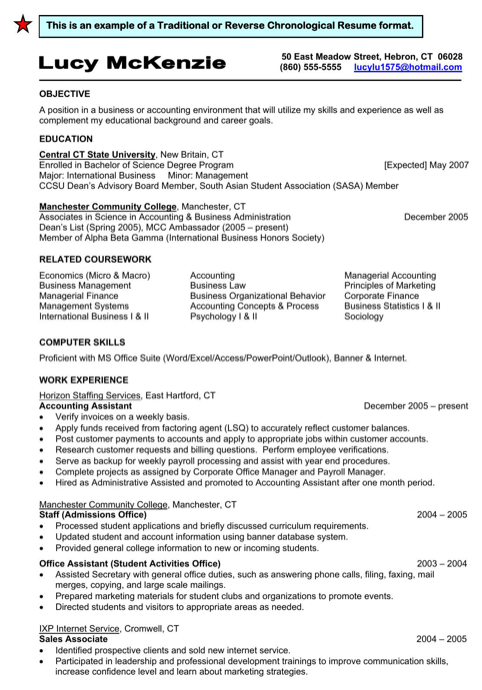 Traditional / Reverse Chronological Resume Format