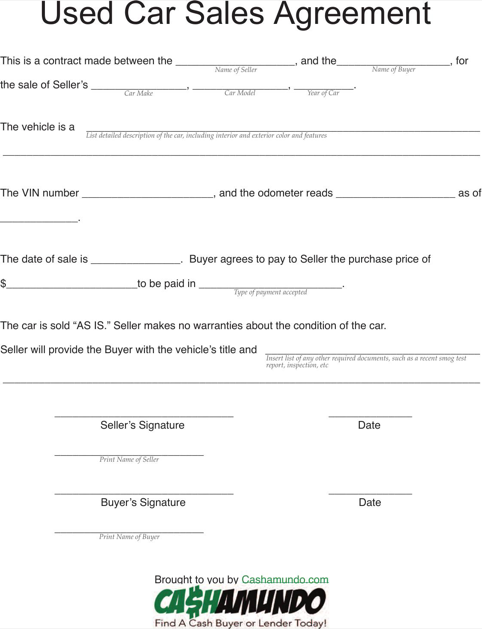 Download Vehicle Purchase Agreement For Free Formtemplate