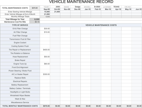 Vehicle Maintenance Sheet