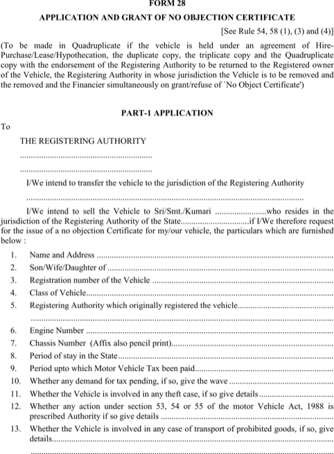 Vehicle No Objection Certificate
