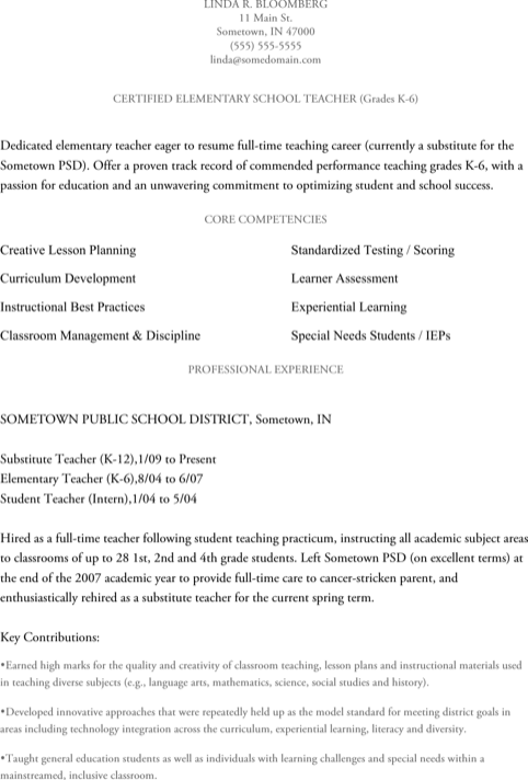 Veteran Elementary Teacher Resume