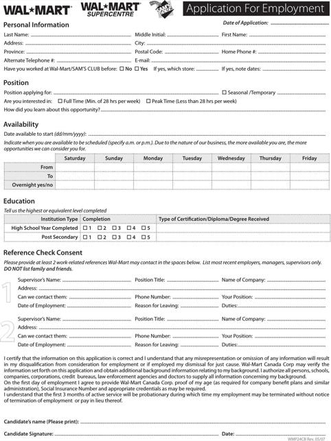 WalMart Application for Employment (Fiilable)