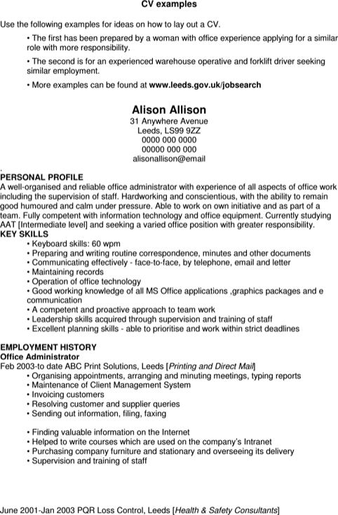 Warehouse Forklift Resume
