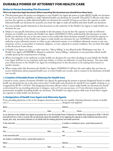 Washington Health Care Power of Attorney Form