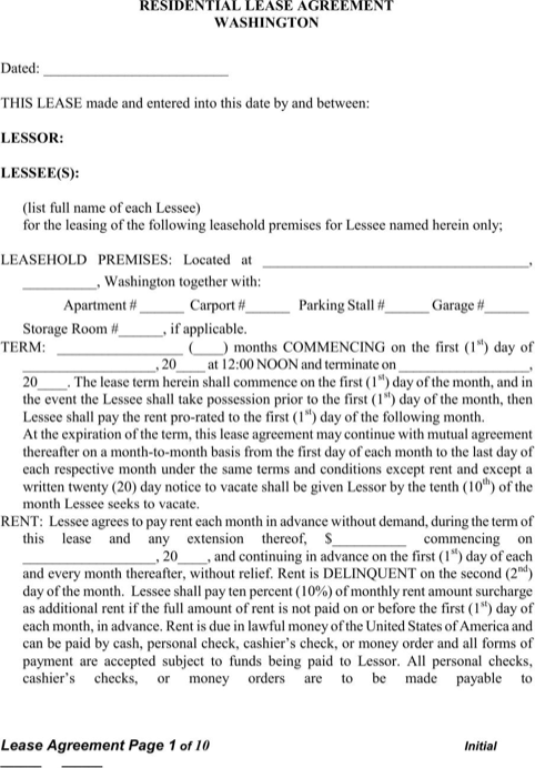 Washington Residential Lease Agreement Form