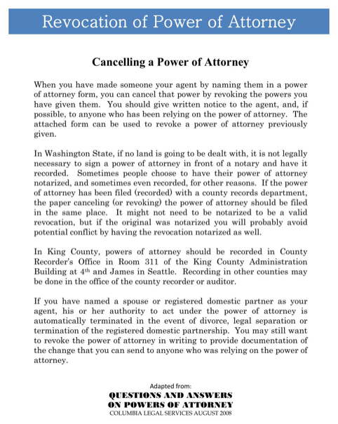 Washington Revocation Power of Attorney