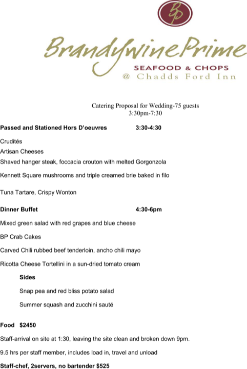 Wedding Catering Proposal Template