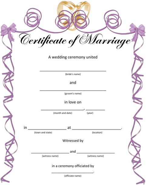 Wedding Certificates for Fun