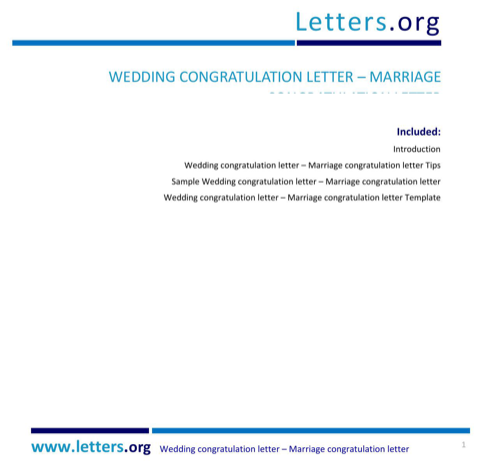 Wedding Congratulation Letter
