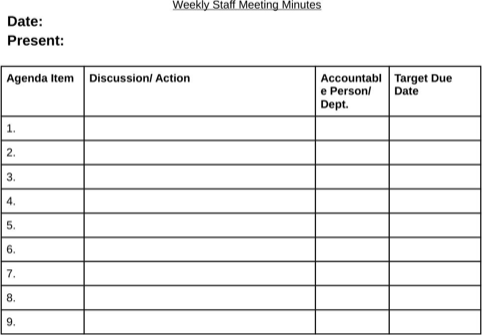 minutes of meeting template doc