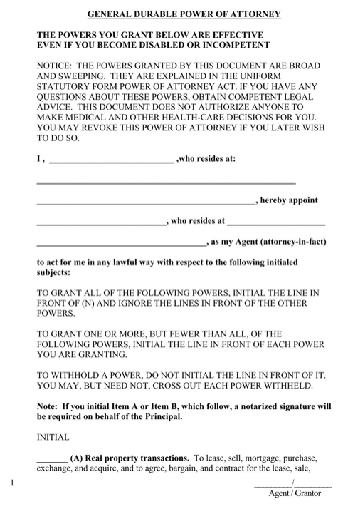 West Virginia General Durable Power of Attorney Form
