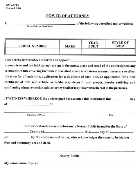 West Virginia Motor Vehicle Power of Attorney Form