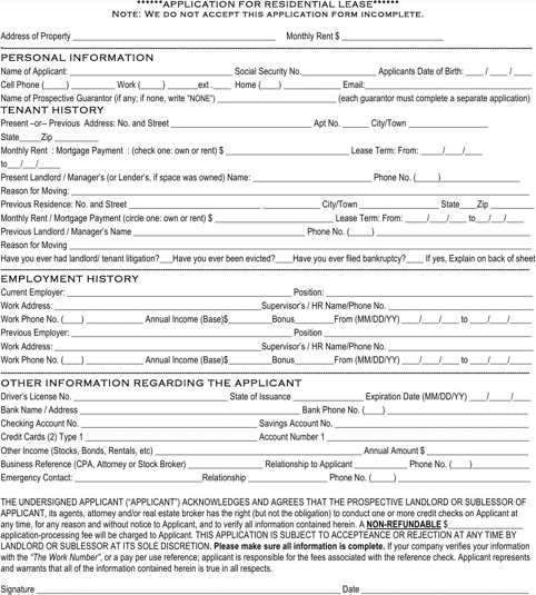 West Virginia Rental Application Form