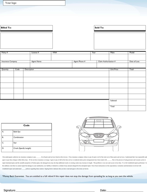 Windshield Invoice Repair Template