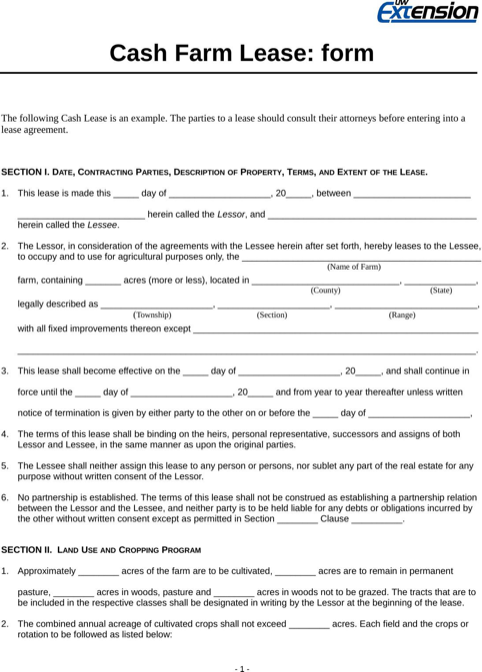 Wisconsin Cash Farm Lease Form