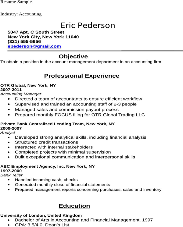 download accounting student resume sample for free