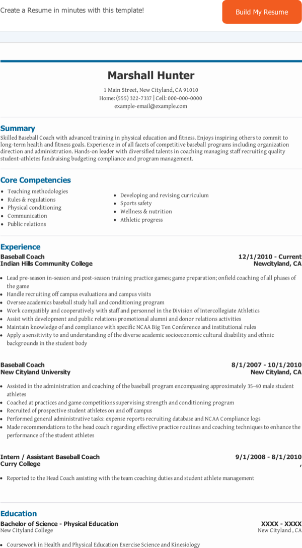download baseball coach resume1 for free