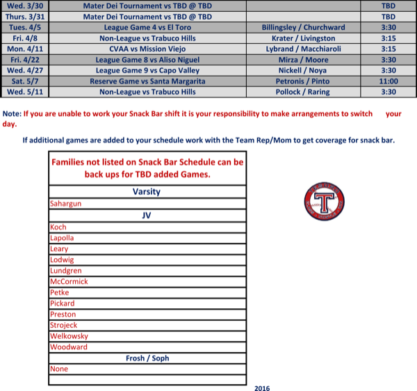 download baseball snack schedule template for free