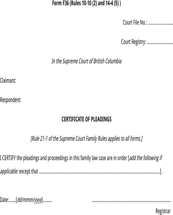download british columbia certificate of pleadings form