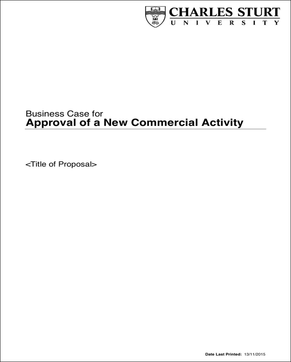 Business Case For Approval of A New Commercial Activity