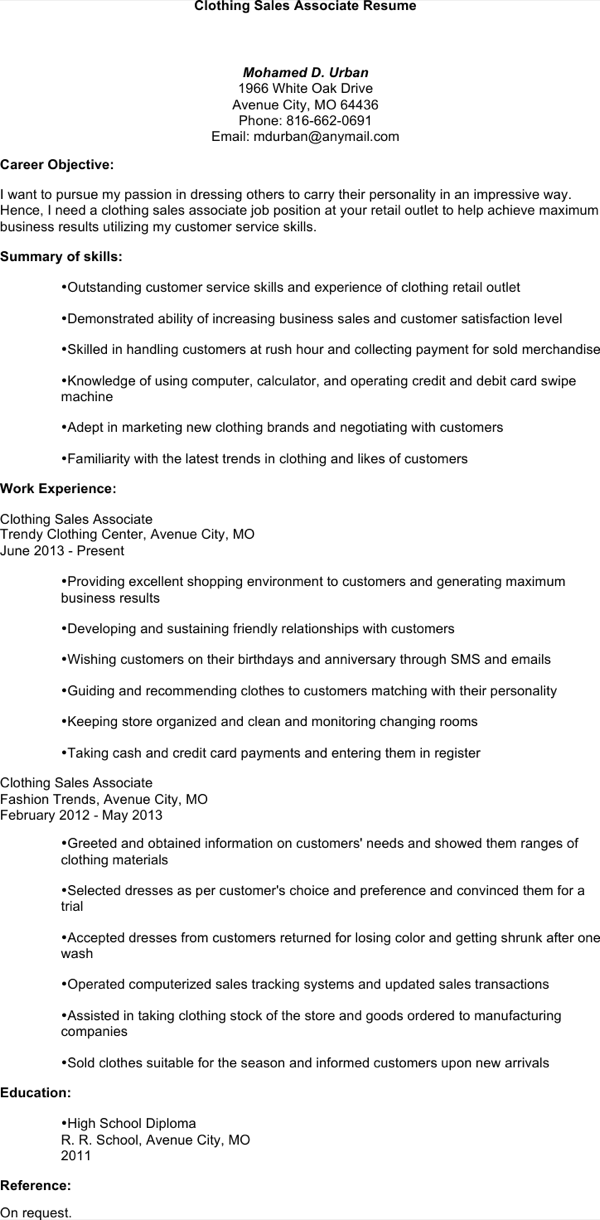 download clothing sales associate resume for free