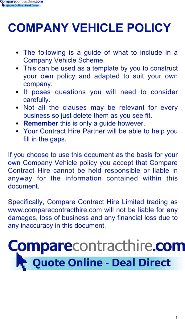 Download Company Vehicle Policy Template For Free Formtemplate