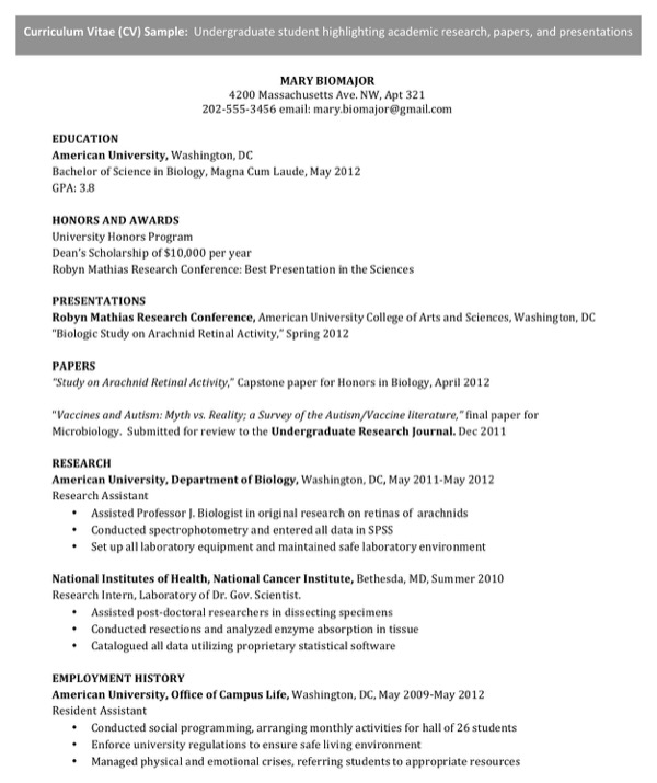 download cv template  for undergraduate student for free